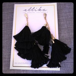 18K gold plated black tassel earrings.